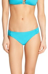 Trina Turk Women's Shirred Side Bikini Bottoms Turquoise