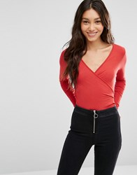 Asos Wrap Front Body With Long Sleeves Red