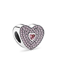 Pandora Design Pandora Charm Sterling Silver And Cubic Zirconia Pink Heart Moments Collection