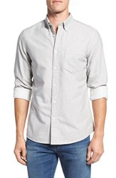 Nordstrom Men's Big And Tall Men's Shop Trim Fit Brushed Twill Sport Shirt Grey Light Heather