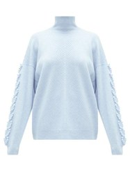 Barrie High Neck Embroidered Sleeve Cashmere Sweater Light Blue