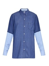 Vince Colour Block Point Collar Chambray Shirt