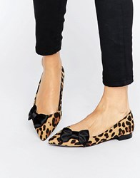 Asos Louise Pointed Bow Ballet Flats Leopard Multi
