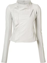 Rick Owens Cropped Biker Jacket White