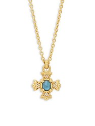 Judith Ripka London Blue Topaz And Sterling Silver Pendant Necklace Gold