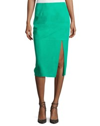 Diane Von Furstenberg Suede Side Slit Pencil Skirt Blue
