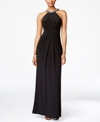 Adrianna Papell Jersey Halter Gown Black