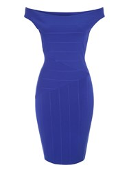 Jane Norman Black Bandage Bardot Dress Blue
