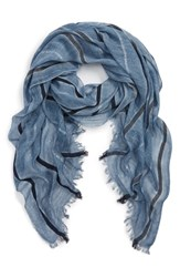 Sole Society Lightweight Stripe Scarf Chambray Blue