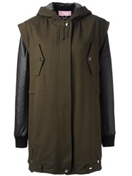 Giamba Hooded Layered Coat Green