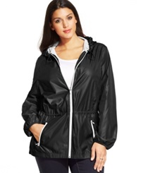 Style And Co. Sport Plus Size Hooded Anorak Jacket Deep Black