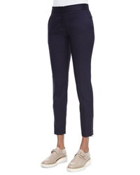 Stella Mccartney Vivian Skinny Suiting Zip Cuff Ankle Pants Navy