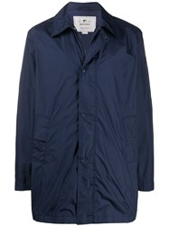 Woolrich Concealed Front Coat Blue