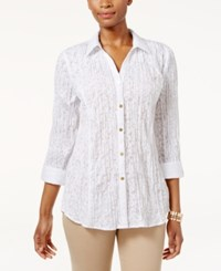 Jm Collection Printed Crinkled Shirt Only At Macy's Bright White
