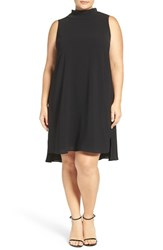 Adrianna Papell Plus Size Women's Stand Collar A Line Shift Dress Black