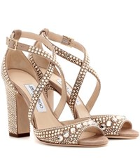 Jimmy Choo Carrie 100 Glitter Embellished Leather Sandals Beige