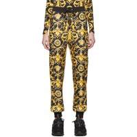 Versace Black Silk Barocco Lounge Pants