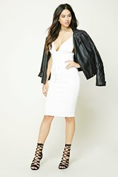 Forever 21 Lace Up Front Bodycon Dress Ivory
