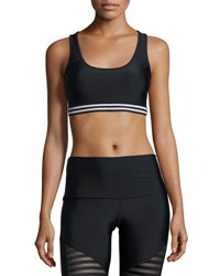 Onzie Graphic Elastic Sports Bra Black White Black Pattern