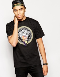 Crooks And Castles T Shirt With Medusa Flag Black
