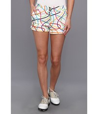 Loudmouth Golf Scribblz White Mini Short White Multi Women's Shorts