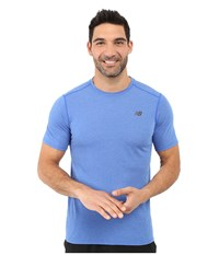 New Balance Pindot Flux Short Sleeve Top Pacific Men's Short Sleeve Pullover Blue