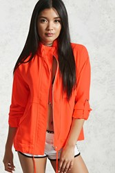 Forever 21 Funnel Neck Zip Front Jacket Neon Coral