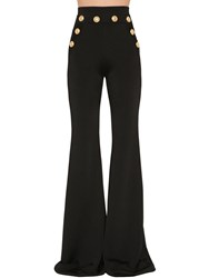 Balmain High Waist Flared Viscose Knit Pants Black
