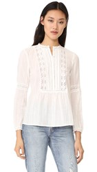 Rebecca Taylor Long Sleeve Gauze With Lace Top Milk