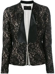 Christian Pellizzari Lace Flared Jacket Black