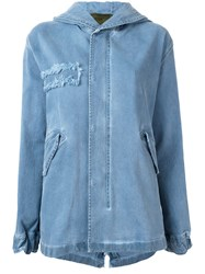Mr And Mrs Italy Fur Trim Parka Blue