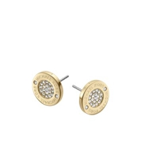 Michael Kors Pave Logo Gold Tone Stud Earrings