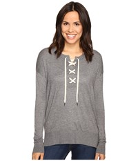 Splendid Lakewood Henley Pullover Heather Cinder Women's Long Sleeve Pullover Gray