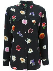 Equipment All Over Flower Print Shirt Black
