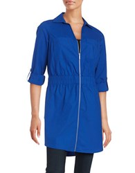 Michael Michael Kors Plus Zip Front Shirt Dress Blue