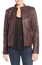 Women's Bernardo Quilted Leather Moto Jacket With Side Zips Plum
