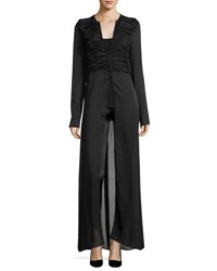 The Row Sabrina Shirred Front Silk Charmeuse Maxi Dress Black