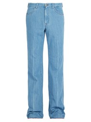 Gucci Linen Denim Flared Trousers Blue