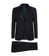 Armani Collezioni Shawl Collar Wool Suit Male Navy