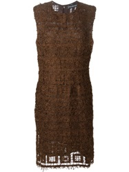 Jean Louis Scherrer Vintage Feather Knit Dress Brown