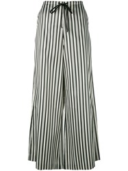 Mcq By Alexander Mcqueen Striped Palazzo Trousers Women Polyester Cotton 42 Black