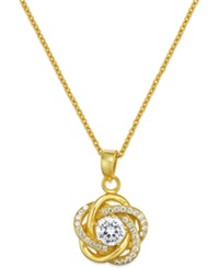 Macy's Cubic Zirconia Micropave Love Knot Necklace In 18K Gold Plated Sterling Silver