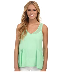 French Connection Polly Plains Peplum Mint Mojito Women's Sleeveless White