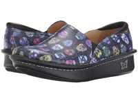 Alegria Debra Professional Sugar Skull Women's Slip On Shoes Black