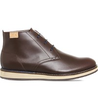 Lacoste Millard Chuka Leather Boots Dark Brown