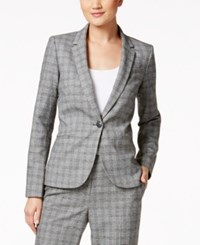 Tommy Hilfiger One Button Houndstooth Blazer Black White