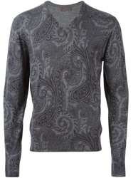 Etro Floral Paisley V Neck Sweater Grey
