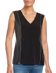 Calvin Klein Faux Leather Accented Tank Top Black