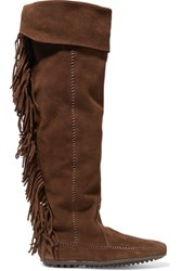 Maje Minnetonka Fringed Suede Knee Boots Dark Brown