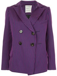 Maison Rabih Kayrouz Striped Double Breasted Blazer Purple